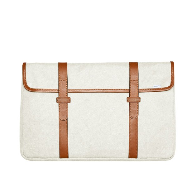 "Sandqvist Sinclair Canvas Laptop Sleeve 15"" - Hvid"