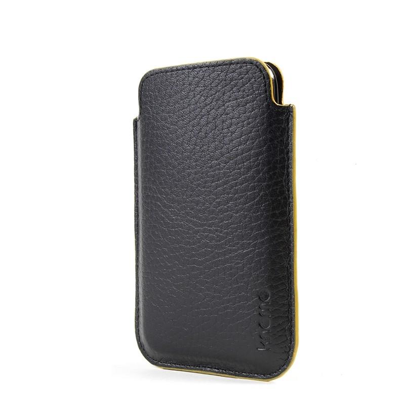 Knomo iPhone 3G/3GS/4/4S Læder Sleeve Pouch i Lækker Gaveæske - Sort / Gul