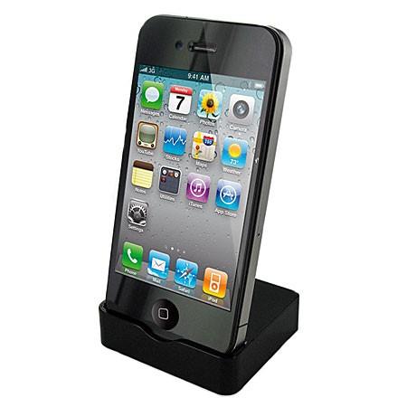 Adapt Apple iPhone 4 USB Cradle / Dock m. Oplader og Micro USB Kabel - Sort