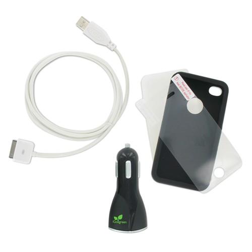 Adapt Essential Kit til iPhone - 2 x Covers 1 x USB Kabel 1 x Biloplader 1 x Skærmbeskytter