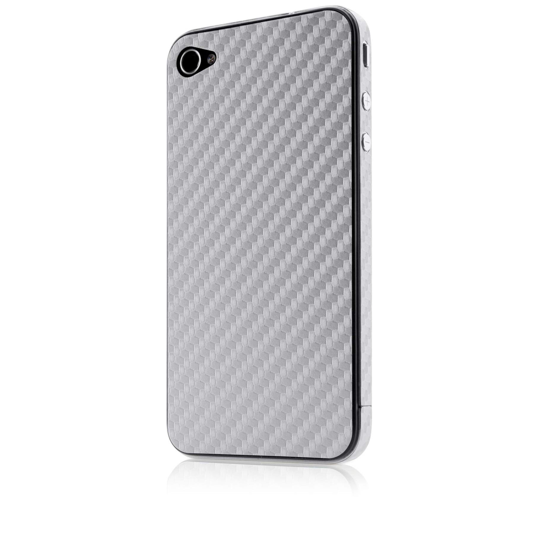 Belkin Carbon Fiber Sticker til iPhone 4/4S - Sølv