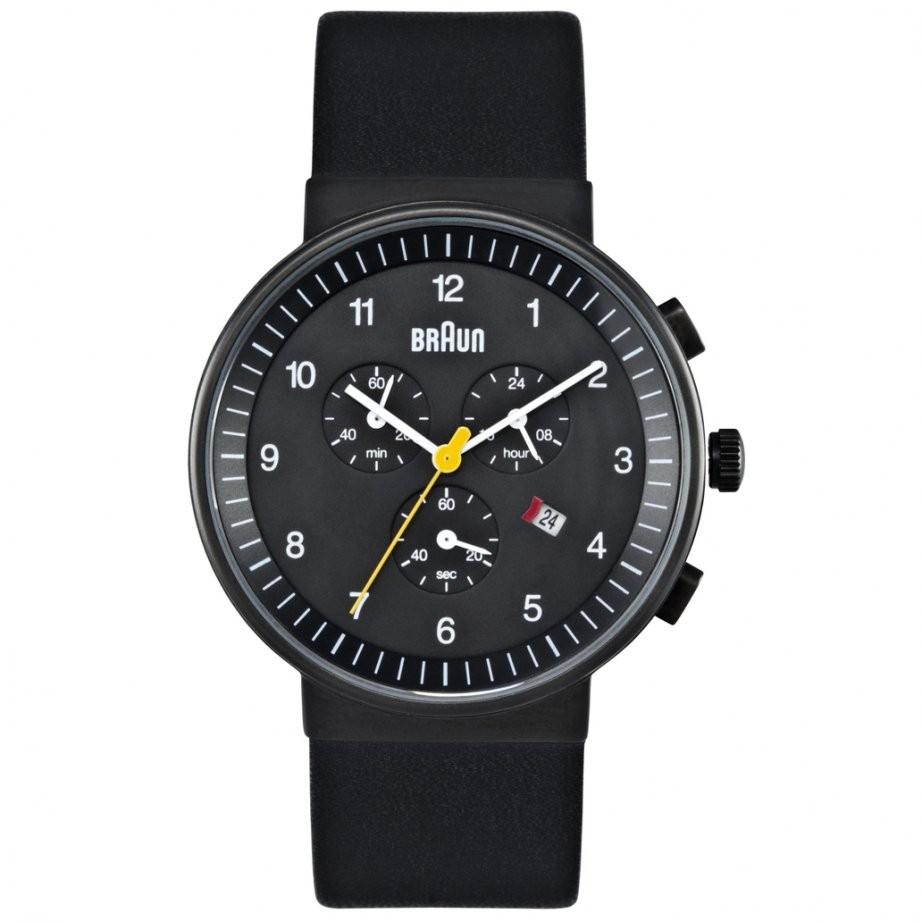 Braun Sort Læder Chronograph Armbåndsur BN0035BKBKG - Sort