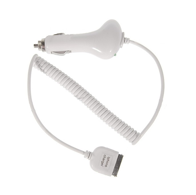 Cigartænderkabel til iPod & iPhone 2G / 3G / 3GS / 4 Hvid