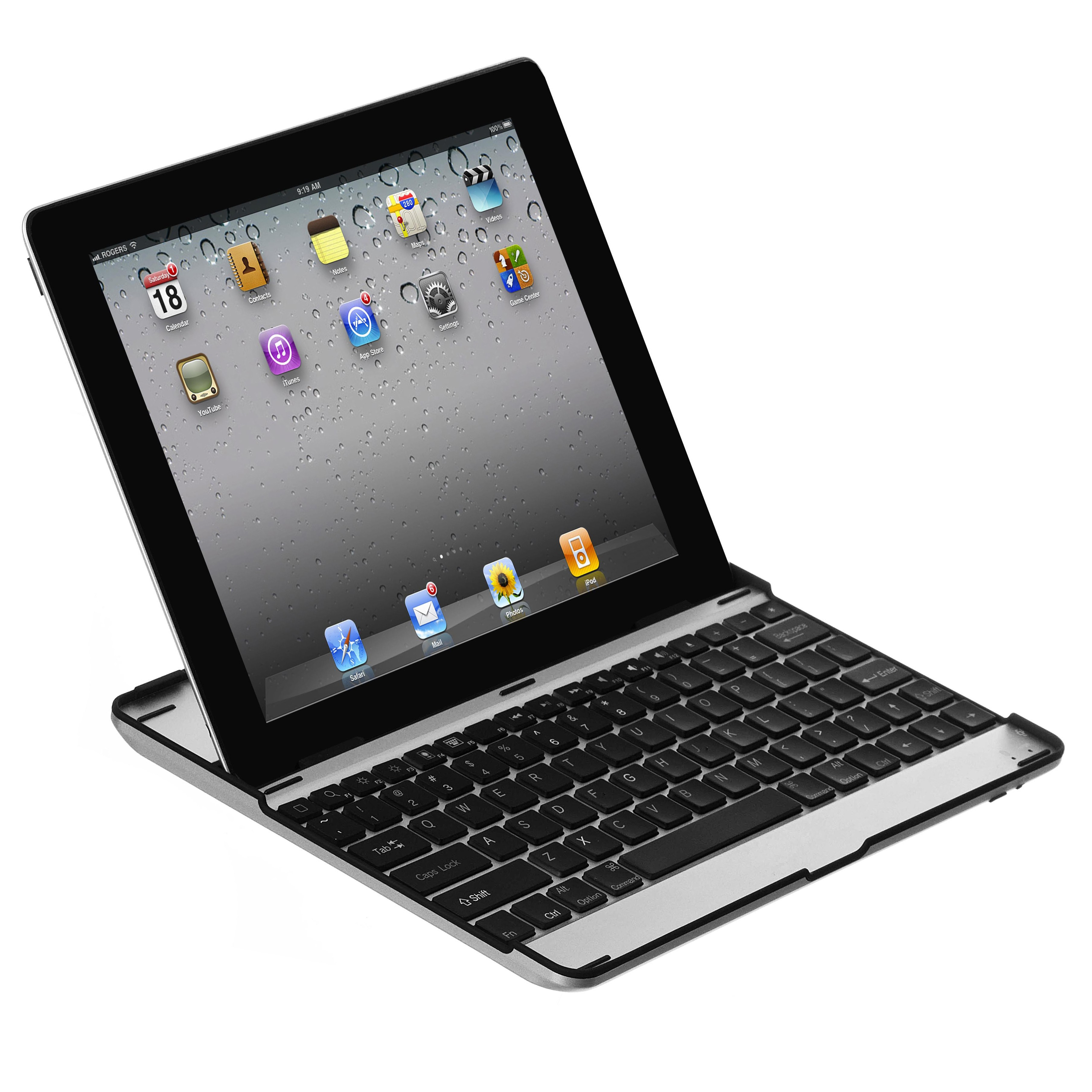 Ultra Tynd Aluminium Keyboard Case til iPad Med ÆØÅ - Sort