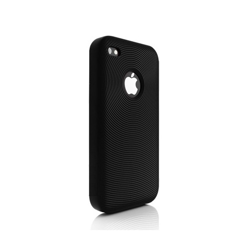 Swirling Silikone Cover til iPhone 4 - Sort
