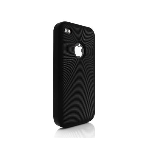 Swirling Silikone Cover til iPhone 4 - Sort