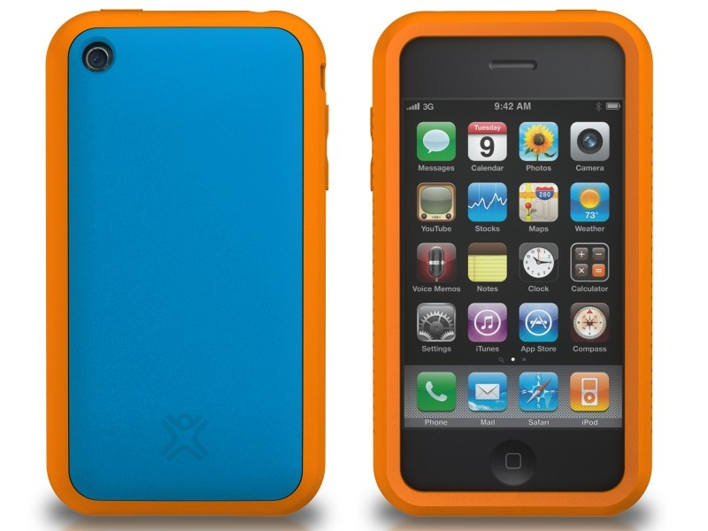 XtremeMac Tuffwrap Accent iPhone 3G/3GS Inkl. Skærmfolie + Stand - Blå/Orange