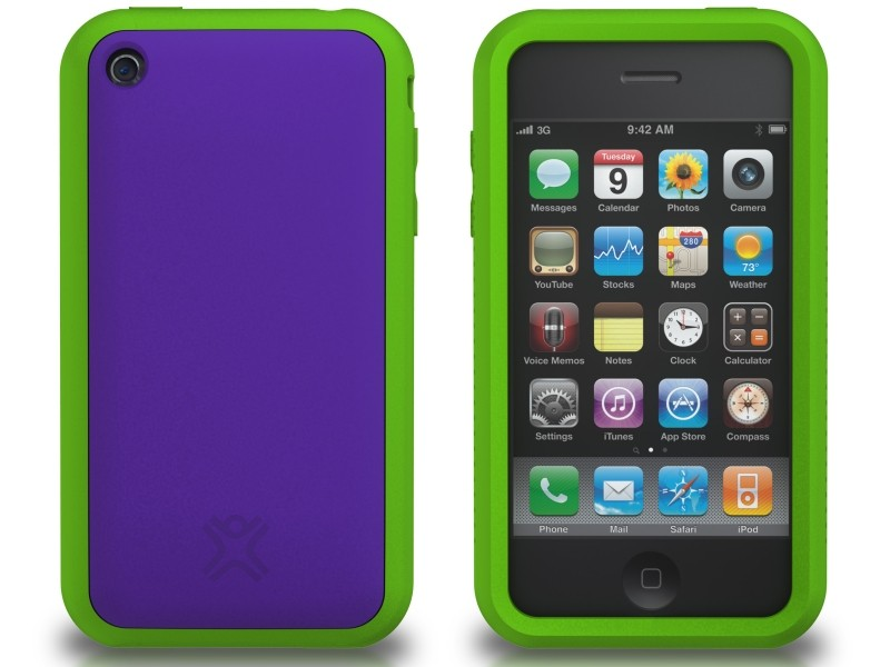 XtremeMac Tuffwrap Accent iPhone 3G/3GS Inkl. Skærmfolie + Stand - Lilla/Grøn