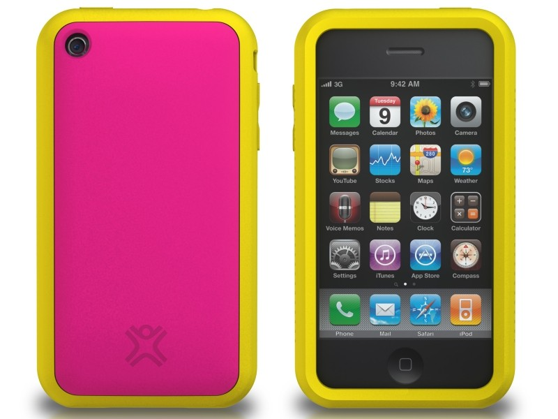 XtremeMac Tuffwrap Accent iPhone 3G/3GS Inkl. Skærmfolie + Stand - Pink/Gul