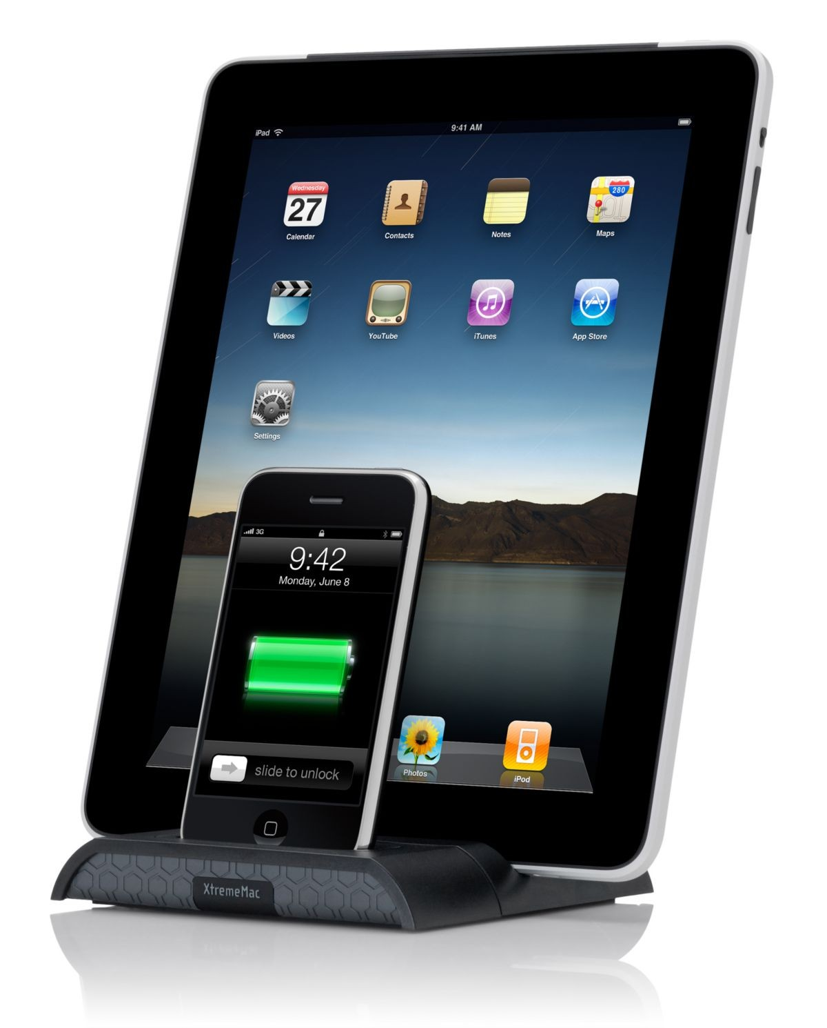 XtremeMac 2.1 Amp Dobbelt Docking Station til iPhone, iPod & iPad - Sort