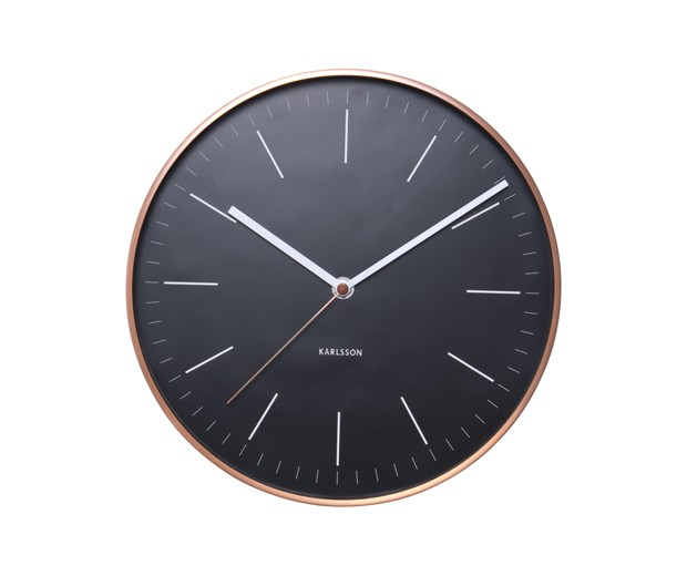 Karlsson Wall Clock Minimal - Sort/Kobber 27,5 cm