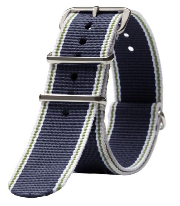 Triwa Nylon NATO Rem - Mørkeblå, Hvid, Grøn