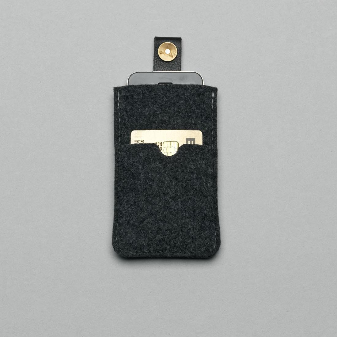 P.A.P Filt Etui m/ Kortholder & Neckband til Bl.a. iPhone - Mørke Grå