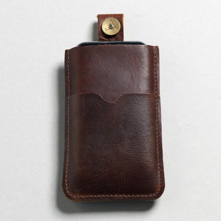 P.A.P Læder Etui m/ Kortholder & Neckband til Bl.a. iPhone - Brun