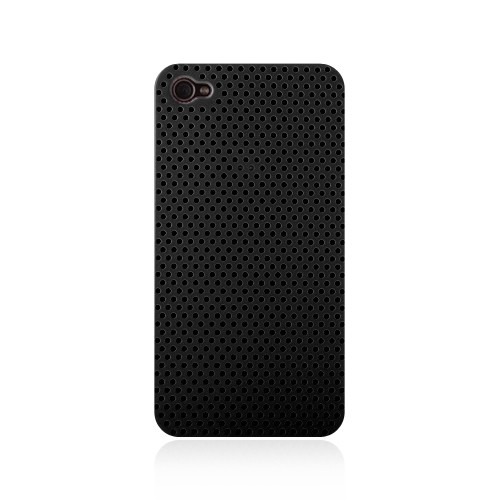 Perforeret Snap-On Cover til iPhone 4 - Sort