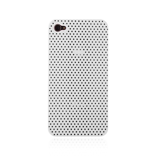 Perforeret Snap-On Cover til iPhone 4 - Hvid