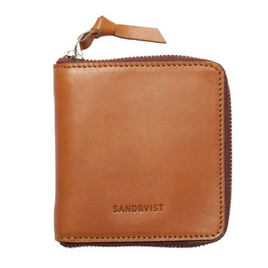 Sandqvist AINA Zipper Leather Wallet - Cognac Brun