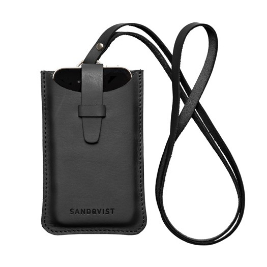 Sandqvist BÖRJE Leather iPhone Case w/ Strap - Sort