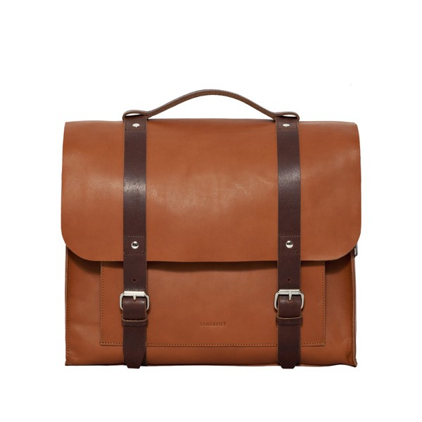 Sandqvist JOSEF Leather Reporter Bag - Cognac Brun
