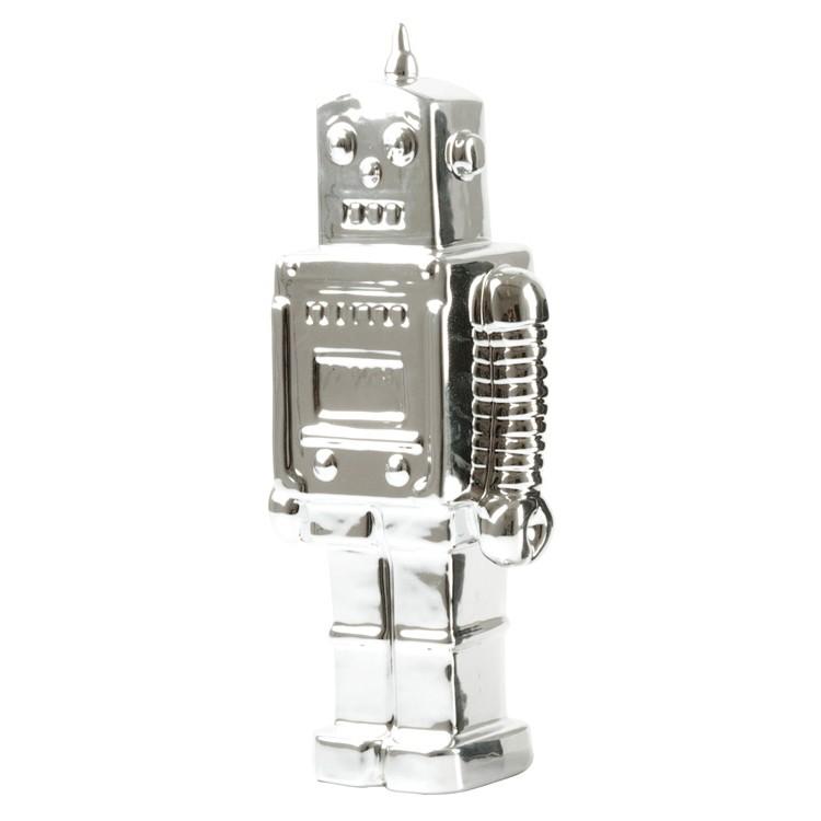 PresentTime Robot Sparebøsse i Keramik - Krom