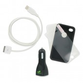 Adapt Essential Kit til iPhone - 2 x Covers 1 x USB Kabel 1 x Biloplader 1 x Skærmbeskytter