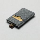 P.A.P Filt Etui m/ Kortholder & Neckband til Bl.a. iPhone - Lys Grå