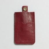 P.A.P Læder Etui m/ Kortholder & Neckband til Bl.a. iPhone - Rød