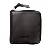 Sandqvist AINA Zipper Leather Wallet - Sort