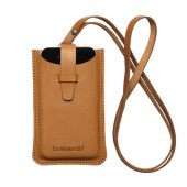 Sandqvist BÖRJE Leather iPhone Case w/ Strap - Cognac Brun