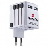 Skross World USB Oplader / Rejseadapter Kompatibel i Over 150 Lande - Hvid